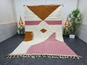 "Moroccan Handmade Kilim Zanafi Rug 6'4""x10'1"" Berber Abstract White Pink Carpet"