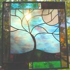 Stained Glass Window Panel Stormy Tree turquoise purple black