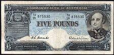 1954-59 AUSTRALIA £5 POUNDS BANKNOTE * TA/19 875530 * aVF * P-31a *