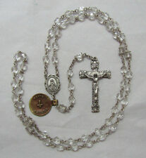 """† NWT OLD STOCK VINTAGE SIGNED CREED STERLING & CLEAR ROSARY NECKLACE 28 1/2"""" †"""