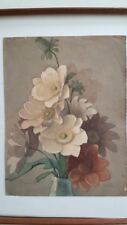 Peinture pot de fleur signée. Painting flower pot signed
