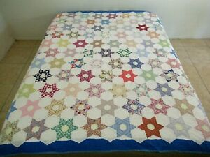 "Vintage Hand Sewn 105 DIFFERENT Feed Sack Fabrics HEXAGONAL STAR Quilt 80"" x 78"""