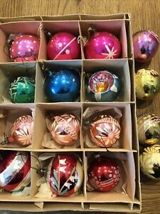 Vintage Glass Baubles x 15 Hand Painted Boxed Christmas Decorations