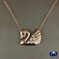 Diamond & Ruby Swan Pendant Necklace In 14K Rose Gold