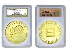 Valentine Same Sex Marriage Female Lesbian 1 oz Proof Gold layered Silver Coin