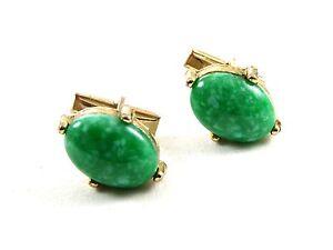 Goldtone & Light Green Cufflinks
