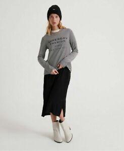 Superdry Womens Dunne Stripe Graphic Long Sleeve Top Black Stripe Size UK 8
