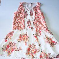 Women's Forever 21 White Red Floral Dress Size Medium V Neck Sleeveless Boho She