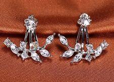 Silver Clr Leaves Crystal Rhinestone Ear Cuff Stud Earrings Climber Rings ECF14