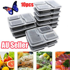 10pcs Microwavable Meal Prep Containers Plastic Food Storage Reusable Box EA