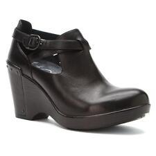Dansko Franka Black Leather Buckle Platform Wedge Women's Shoes 42/11.5-12 M