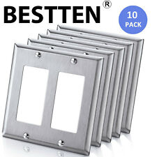 5PK BESTTEN 2 Gang Stainless Steel Decor Wall Plate Metal Switch Outlet Cover UL