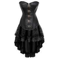 sexy leather steampunk corset dress gothic corsets  tutu