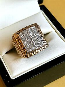 GENTS 20 DIAMOND 1 CARAT TOTAL SET RING 9CT SOLID GOLD SIZE T1/2 UK HALLMARK