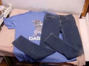 GIRLS CLOTHES - DAB CAT Shirt and GAP Blue Jeans Outfit - SIZE 12