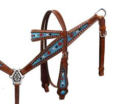 Showman TURQUOISE Beaded Leather Headstall & Breast Collar Set! NEW HORSE TACK!