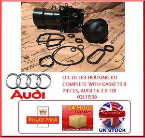 OIL FILTER HOUSING KIT COMPLETE WITH GASKETS 8 PIECES, AUDI 1.6 2.0 TDI 03L11538