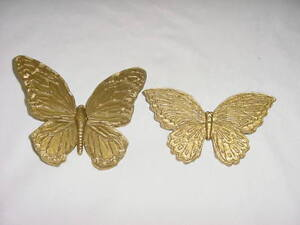 PAIR OF GOLD BUTTERFLY WALL PLAQUES 1971 USA Homco Home Interior