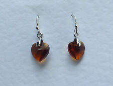 SMALL HEART DROP EARRINGS FACETED BROWN GLASS SILVER PLATED FITTINGS