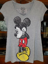 Disney Mickey Mouse Gray Women's Scoop Neck T Shirt Size Small