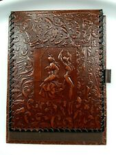 Notepad Journal Holder Folded Brown Faux Leather With Flamenco Dancers Embossed