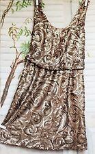 Silbernes Mango Suit Allover Pailetten Mini Coktail Abend Kleid Bronze XS 34 36