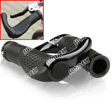 Black Mountain Bike Handle Bar Grips Double Lock On MTB BMX Bicycle + Ends