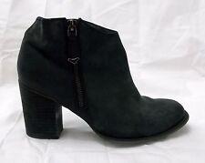Aldo Ankle Bootie Boot Nubuck Suede Size Zipper Chunky Heel Booties Black sz 6.5