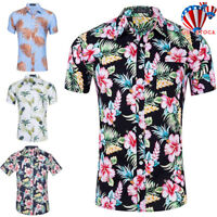 Men Short Sleeve Floral Hawaiian Shirt Tropical Beach Holiday Aloha Party Tops