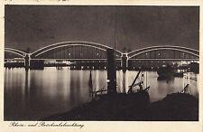 Offizielle Karte Pressa Köln 1928.Rhein- u. Brückenbeleuchtung, S/W Fotodruck