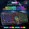 Beleuchtet Mechanische Feeling Verkabelte LED Gaming Tastatur Und Maus Set