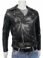 New Men Black Napa Classic Brando Fashion Biker Soft Leather Jacket Bike Rock