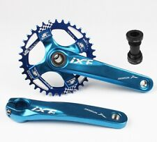 MTB Crankset 170mm BB Narrow Wide Round Oval Single Chainring 32 34 36 38T Blue