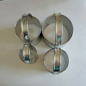 4 VINTAGE ALUMINUM BISCUIT DOUGH COOKIE CUTTERS WITH HANDLES