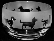 *DOG GIFT* 12cm SMALL CRYSTAL GLASS BOWL with LANCASHIRE HEELER Frieze