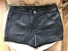 Topshop Black Faux Leather Hotpants 10