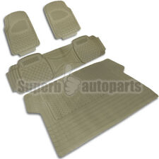 2 Front+1 Rear+1 Cargo Weather Custom Heavy Duty Rubber Floor Mats 4PC Beige