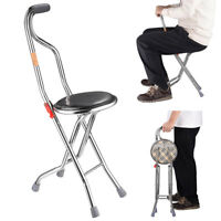 Medical Folding Walking Stick with Seat Portable Travel Cane Hiking Chair Stool