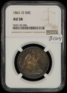 1861-O 50c Seated Liberty Half Dollar - Civil War Year - NGC AU 58 - SKU-B1104