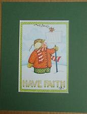 "Mary Engelbreit Print Matted 8 x 10 ""Have Faith"" Bird in Snow"