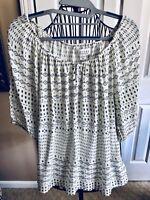 Velvet By Graham spencer Peasant Style, 3/4 Sleeve Blouse In Blk/white, XS