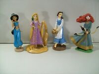LOT OF 4 DISNEY PRINCESS PVC FIGURES MERIDA RAPUNZEL JASMINE BELLE VILLAGE DRESS