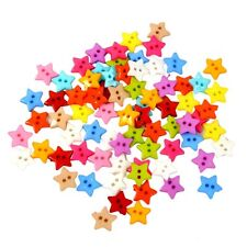 100Pcs Mixed Color 2 Holes Resin Star Buttons for Sewing Scrapbook Craft DIY
