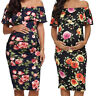 Pregnant Womens Off Shoulder Floral Ruffle Maternity Casual Summer Beach Dress