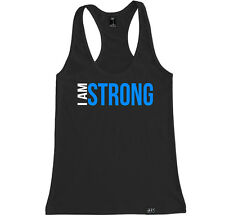 I AM STRONG FITNESS WOMEN RACERBACK TANK TOP SHIRT CROSSFIT TRAIN YOGA