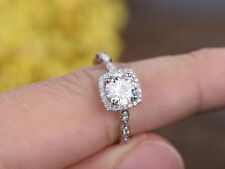 14K White Gold Wedding Ring 1.24 Ct Round Diamond Anniversary Size L M N