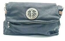 Women's Black Brown Leather Large Medallion Design Handbag Purse