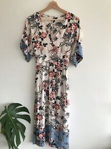 Monsoon Bohemian Floral Gypsy Midi Floral Dress Excellent Condition Size 10