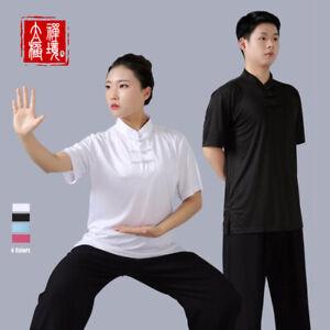 Silk Kung Fu Tai Chi T-Shirt Coat Tops Martial Arts Wingchun Uniform Breathable
