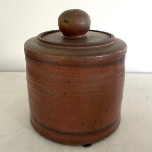 Signed Red Mid Century Studio Art Pottered Covered Jar Mizusashi by Wally Schwab